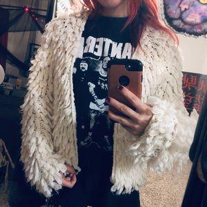 Open Front Tassel Fluffy Beige sweater